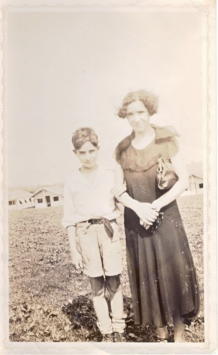 Norm in about 1933 with his mother, Bertha