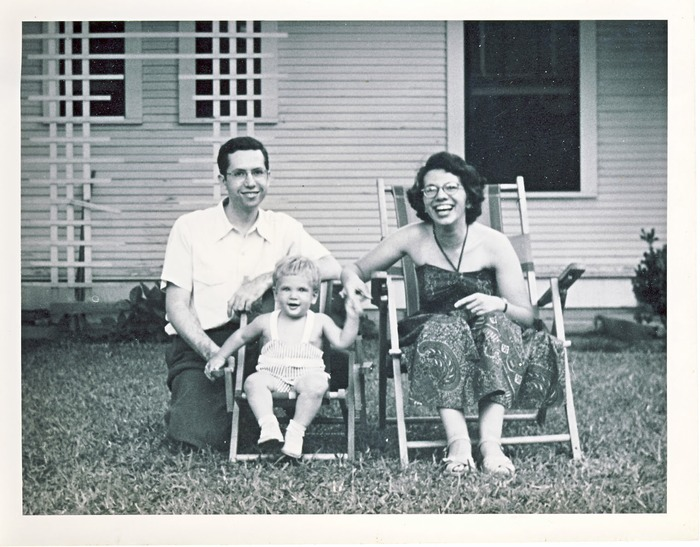 about 1950 with baby Lon & wife Norma